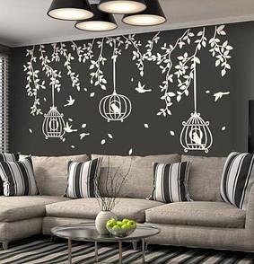 Наклейка на стену Веточки дерева с клетками и птицами (сад, большое дерево)