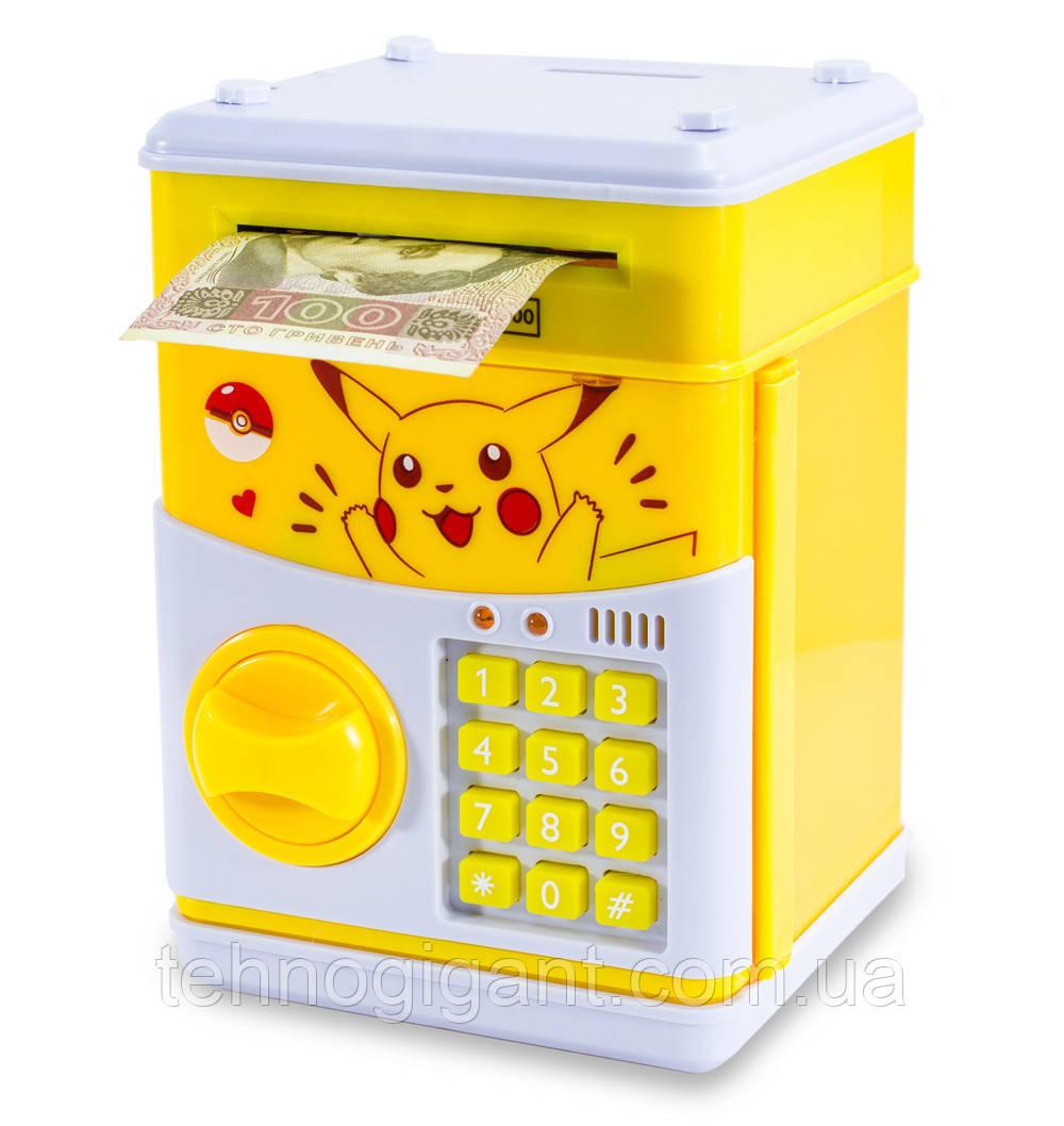 """Детский сейф с кодом, для денег, игрушечный (""""Пикачу"""", желтый) копилка детская музыкальная"""