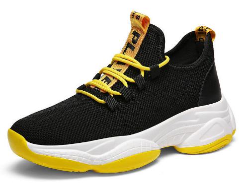 Кроссовки черно-желтые текстиль