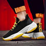 Кроссовки черно-желтые текстиль, фото 2