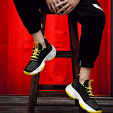Кроссовки черно-желтые текстиль, фото 3