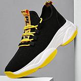Кроссовки черно-желтые текстиль, фото 5