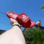 Мужские летние шлепанцы Adidas массажные (красные) 40019, фото 3
