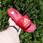 Мужские летние шлепанцы Adidas массажные (красные) 40019, фото 8