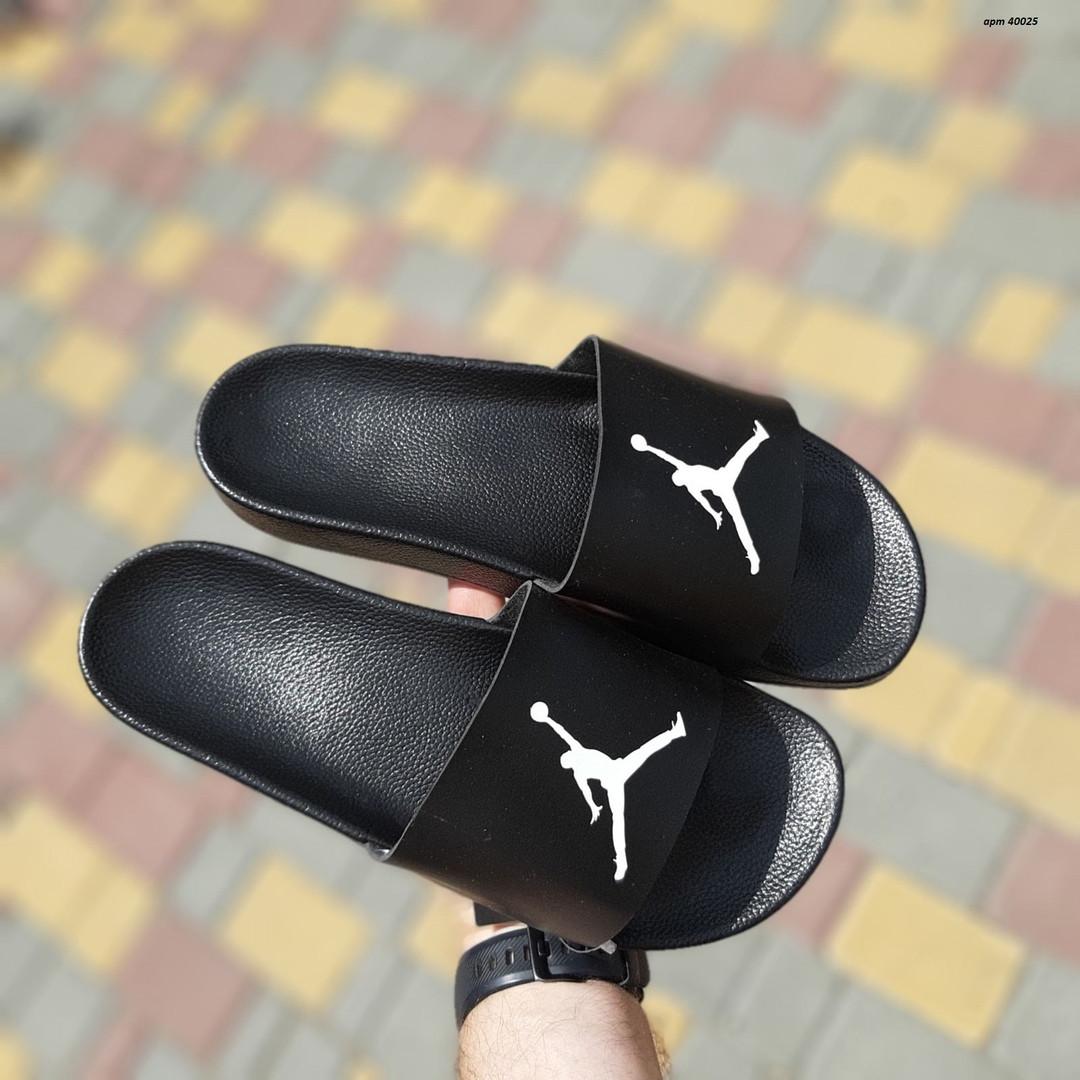 Мужские шлепки на лето Jordan (черно-белые) 40025