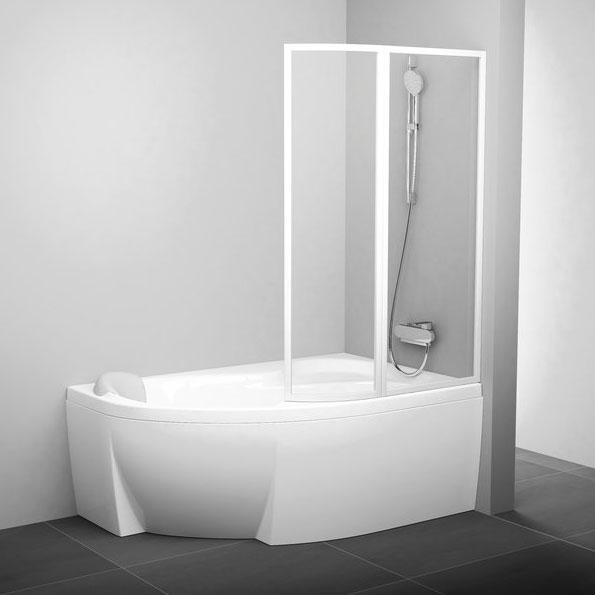 Шторки для ванн стеклянные Ravak Шторка для ванны Ravak VSK2 Rosa 170 R белый+rain (76PB010041)