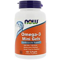 ОРИГИНАЛ!Рыбий жир Now Foods Омега 3 для сердечно-сосудистой системы 180 мини-гелевых капсул из США