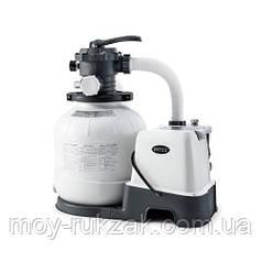 Песочный фильтр - насос с хлоргенератором (система морской воды), 10000 л/ч, хлор 11 г/ч, 45 кг,  Intex 26680
