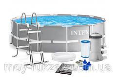 Бассейн каркасный круглый Prism Frame Pool, Intex 26716, фильтр - насос в комплекте, 366*99см