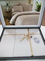 Комплект постельного белья ELITA евроразмер, натуральный 100% бамбук, крем бежевый, Турция