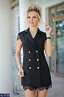 Короткое черное платье с кружевом, размеры 42, 44, 46