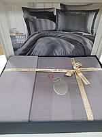 Комплект постельного белья ELITA евроразмер, натуральный сатин DeLux (100% хлопок), серый, Турция