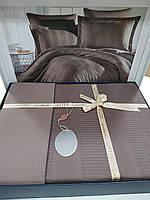 Комплект постельного белья ELITA евроразмер, натуральный сатин DeLux (100% хлопок), шоколадный , Турция