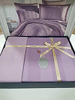Комплект постельного белья ELITA евроразмер, натуральный сатин DeLux (100% хлопок), сиреневый, Турция