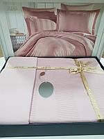 Комплект постельного белья ELITA евроразмер, натуральный сатин DeLux (100% хлопок), пудра розовый, Турция