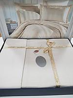 Комплект постельного белья ELITA евроразмер, натуральный сатин DeLux (100% хлопок), крем бежевый, Турция