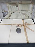 Комплект постельного белья ELITA евроразмер, натуральный сатин DeLux (100% хлопок), молочный белый, Турция
