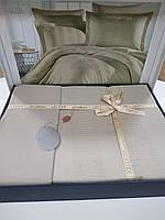 Комплект постельного белья ELITA евроразмер, натуральный сатин DeLux (100% хлопок), оливковый, Турция