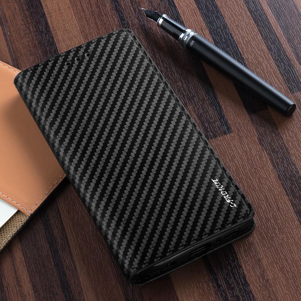 Карбоновый чехол-книжка для Samsung Galaxy S10 Plus