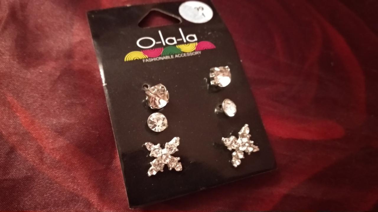 СЕРЬГИ сережки гвоздики набор 3пары бижутерия белые камни