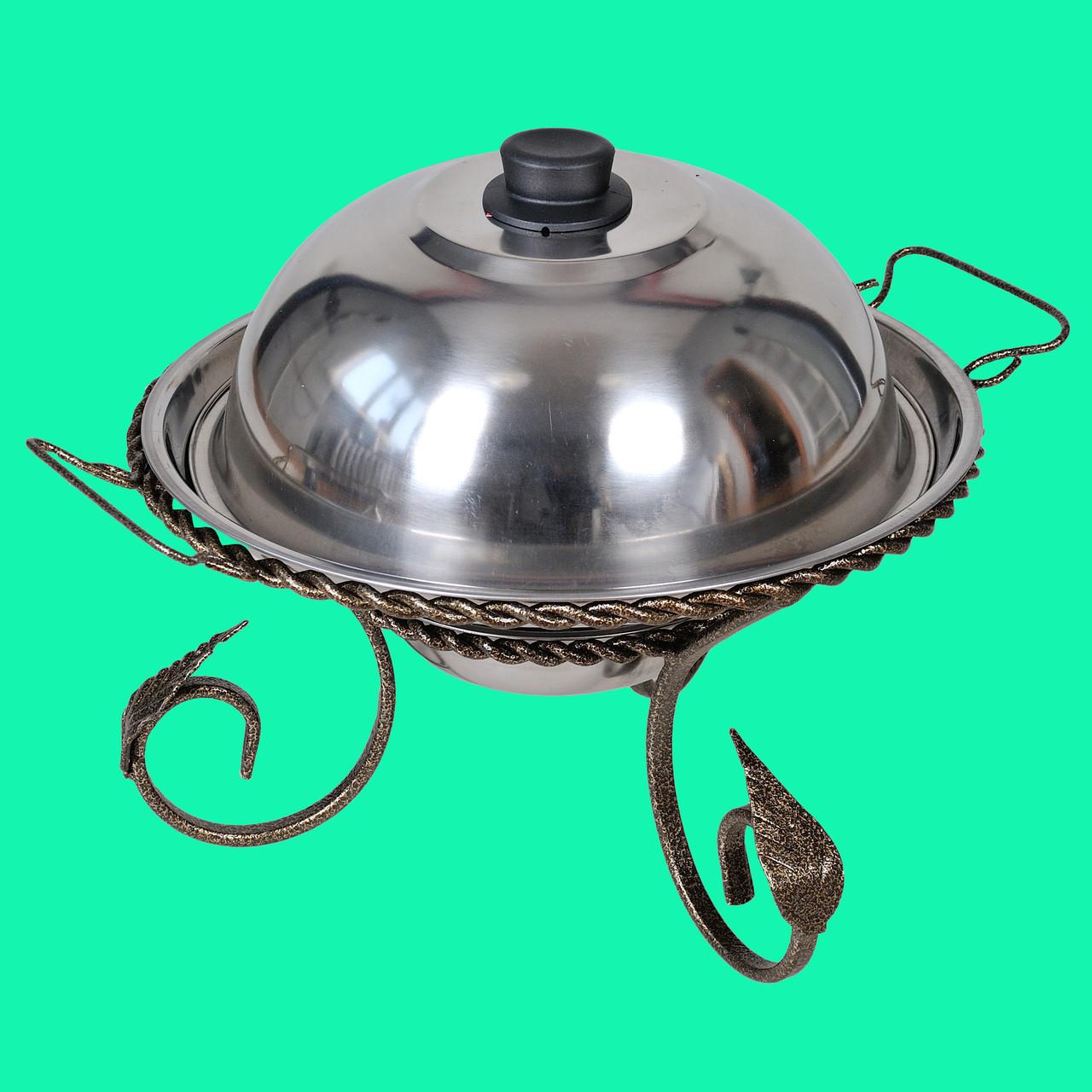Подставка для подогрева мяса шашлыка Садж с коваными элементами 280 мм + крышка