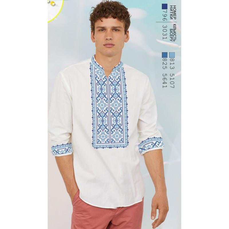 Заготовка для вышивки мужской сорочки на белом льне