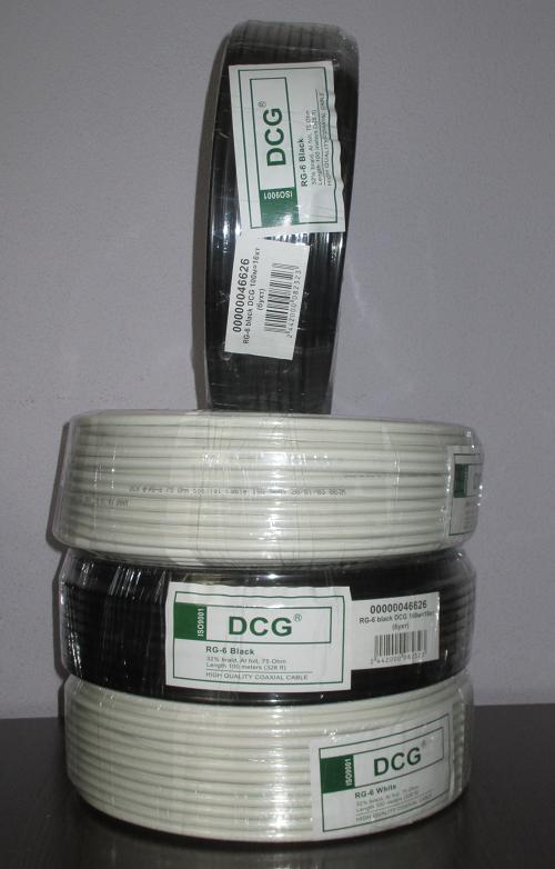 Кабель телевізійний 100 м DCG RG-6 black
