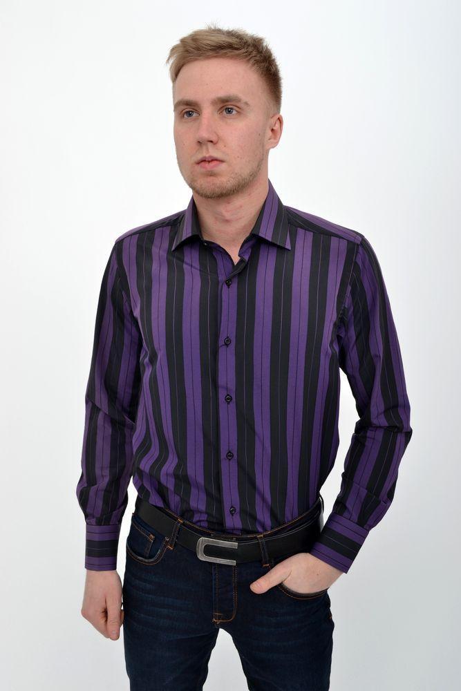 Рубашка 50PD28804 цвет Черно-фиолетовый