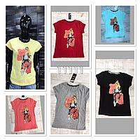 """Футболка женская с рисунком """"Девушка с мишкой"""" размер 44-50, цвет уточняйте при заказе, фото 1"""