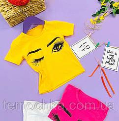Модная желтая футболка для девочки