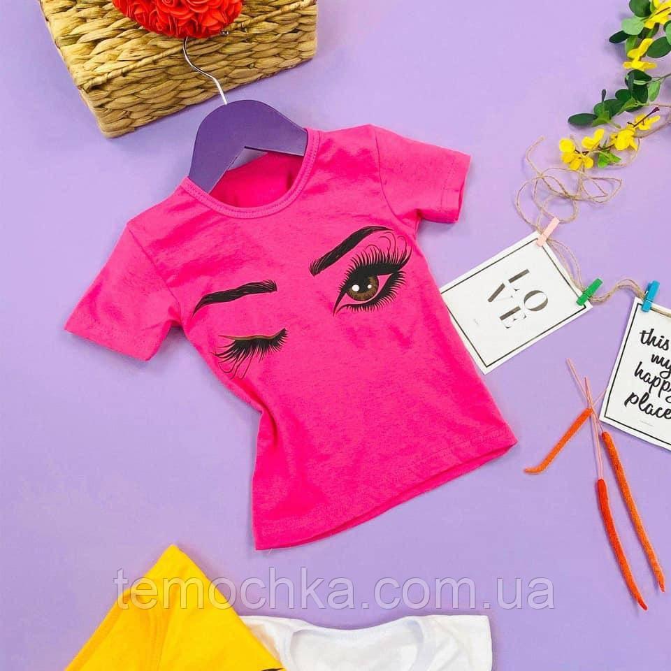 Модна рожева футболка для дівчинки з очима