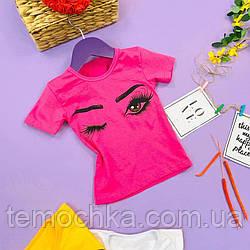 Модная розовая футболка для девочки