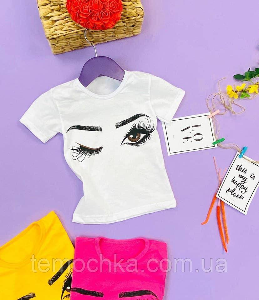 Модная белая футболка для девочки