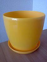 Горщик Глянець Класік з підставкою / Горшок Глянец d-11,h-10,v-0,8л. (желтый)