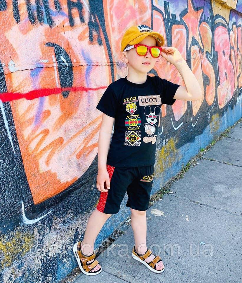 Чорний літній комплект для хлопчика c шортами і футболкою