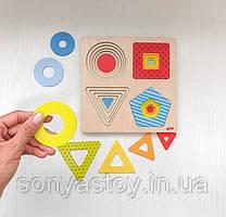 Пазл многослойный - Геометрические фигуры для изучения размеров, 2.5+