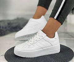 Женские белые кроссовки на удобной платформе с перфорацией, копия известного бренда, ОВ 1307