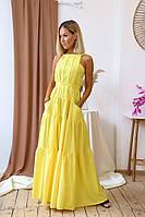"""Длинное летнее платье-сарафан """"Margo"""" с карманами и открытой спиной (6 цветов)"""