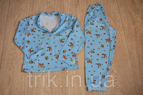 Детская пижама голубая олененки зайчики полотно интерлок, фото 2