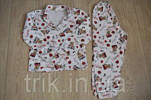 Детская пижама белая с мишками полотно интерлок