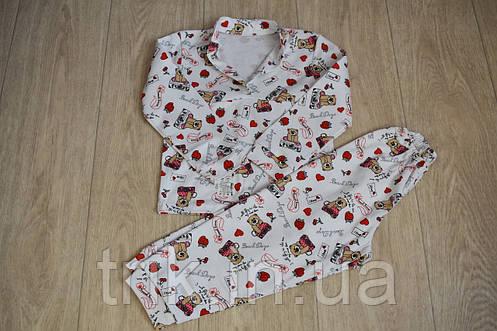 Детская пижама белая с мишками полотно интерлок, фото 2