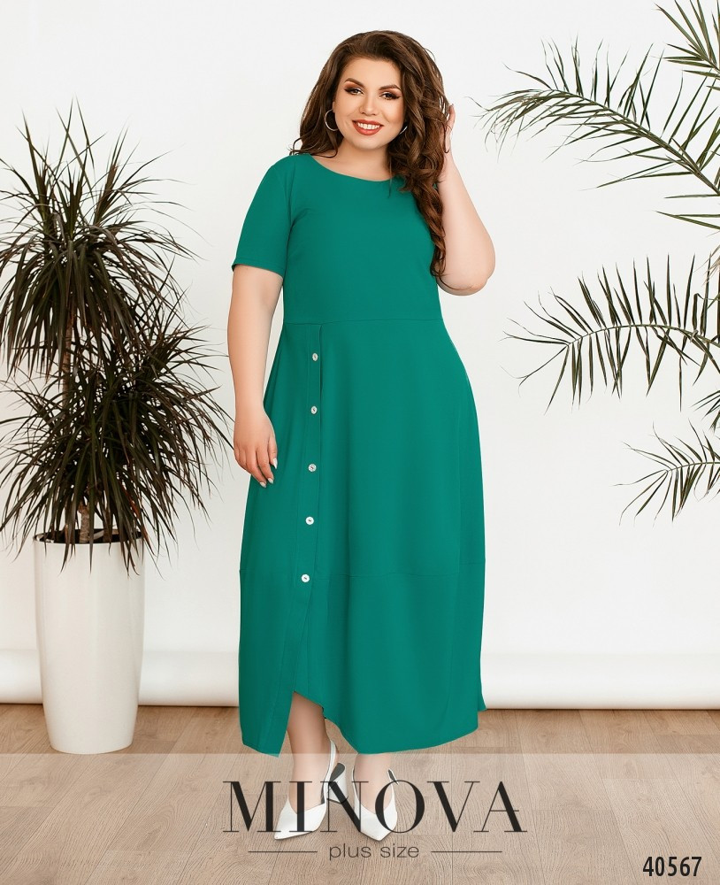 Красиве смарагдове однотонне плаття з софта, розмір від 50 до 64