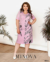 Льняное платье ниже колена розовое больше размеры от 54 до 64, фото 3