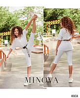 Летний белый костюм для девочек футболка и короткие лосины, размер от 110 до 164