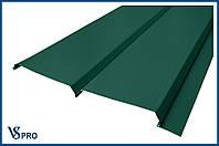 Сайдинг фасадный металлический Евро-Брус, RAL 6005 Цвет Зеленый мох (глянец).