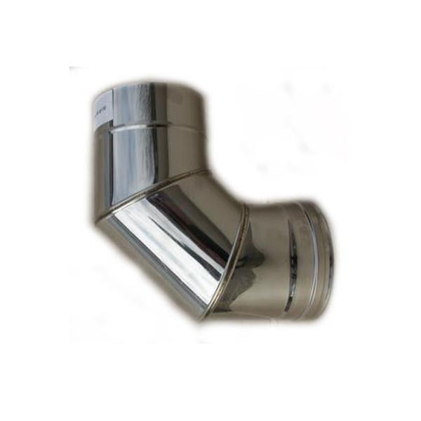 Колено 90° двустенное из нержавки (0.8 мм.) в нержавеющем кожухе