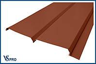 Сайдинг фасадный металлический Евро-Брус, RAL 8004 Цвет Медно-коричневый (глянец).