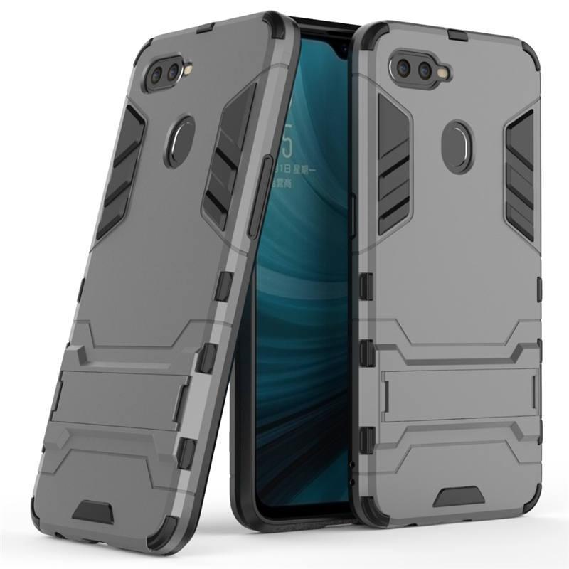 Чехол Hybrid case для Oppo A5s бампер с подставкой темно-серый