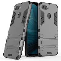 Чехол Hybrid case для Oppo A5s бампер с подставкой темно-серый, фото 1