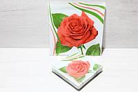 """Набір Блюдо +6 Тарілок """"Royal Opal"""" Червона троянда/білий"""